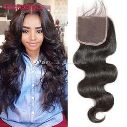 Glamorous Virgin brasiliano capelli pezzo indiano malese peruviana dei capelli dell'onda del corpo 100% capelli umani chiusure 1 Piece Free Parting Top Lace Closure da