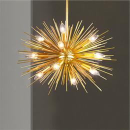 lustre decorativo levou luminárias Desconto Nordic Artístico LEVOU Alumínio Lustre De Dente De Leão De Ouro Pendurado Lâmpadas de Iluminação Luminária Decorativa Levou Luzes Para Casa