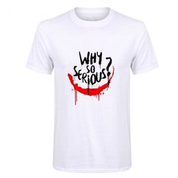 Boys joker t shirts online-Showtly ​​Joker Joaquin Phoenix T Shirt Kurzarm Boy / Mädchen / Kinder Top Tees Männer Warum so ernst T-Shirt Lustiges Horror Satan T-Shirts