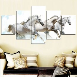 painting horses modern art Promo Codes - Modern Canvas Art Modular HD Poster 5 Panel Running White Horse Painting Wall Pictures For Living Room Home Decoration No Frame