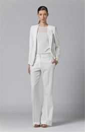 2019 veste tailleur femme Blanc Femmes Femmes Pantalon Combinaison Femmes Pantalon Veste Femmes De Mode Costume À Manches Longues Sur Mesure Col Veste Costumes veste tailleur femme pas cher