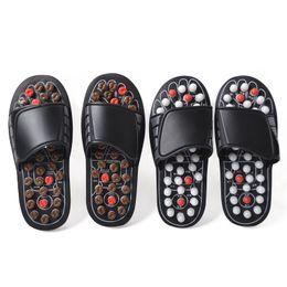 Zapatillas de terapia online-Antideslizante Desgaste Resistencia Zapatos de masaje de fondo grueso Tai Chi Punto de acupuntura Terapia magnética Cuidado de la salud Respirador Resorte de goma Adulto 22wdC1