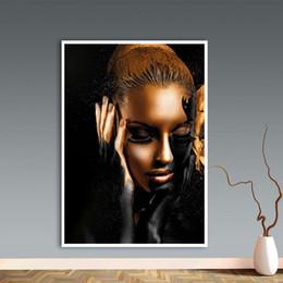 Pintura de mujeres desnudas fotos online-Desnuda de oro negro de la mujer arte de la pintura en lienzo Cuadros carteles e impresiones escandinava cuadro de la pared de la sala de estar