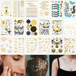 15 * 21 cm VT Metal Flash Body Art Tattoo Collar Pulsera Diseño de la joyería Etiqueta engomada del tatuaje temporal de oro para la mujer Cara Ojo Volver Mano Brazo de la muñeca desde fabricantes