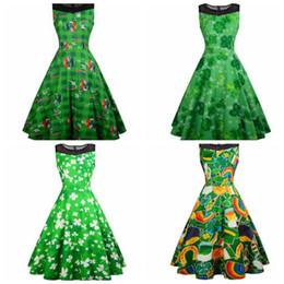effcfe33ccc Discount kimono prom dresses - Womens St Patrick s Day dress sleeveless  Evening Party Prom Swing Dress