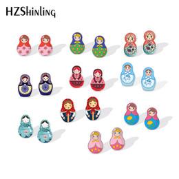 arte russa Sconti 2019 New Cartoon Russian Doll Shrinky Dinks Orecchino Dolls russi Orecchino d'argento Arte Orecchino di plastica Orecchino epossidico