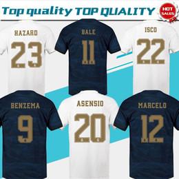 2019 echte madrid fußball uniformen 2019 Real Madrid Home Weiß # 23 HAZARD # 9 BENZEMA # 11 BALE Trikots 19/20 Männer Fußballshirts auswärts madrid Cunstomized Fußballuniformen günstig echte madrid fußball uniformen