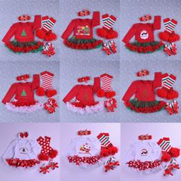 legami di halloween Sconti Set di abbigliamento per bambini di Natale 21 Design Cartoon Babbo Natale Tuta Papillon Scarpe Maglia di pizzo Gonna Fascia Scaldamuscoli 4 pezzi Vestito 0-2 T 04