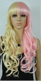 Mezcla de estilos de color de cabello online-WIG ZCD NUEVO ESTILO Peluca cosplay rizada de cabello largo y amarillo mezclado de la chica nueva libre