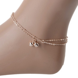 2019 sandali di nozze della spiaggia dell'oro moda catena in oro rosa-color braccialetto di caviglia del piede doppio nappa Bells piedi nudi eleganti cavigliere per le donne Beach Accesssories