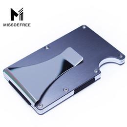 clip card holder metal Desconto Bloqueio de RFID de Alumínio Mini Slim Carteira Clipe de Dinheiro Titular de IDENTIFICAÇÃO de Cartão de Crédito do Negócio de Metal Com Anti-chefe Caso Protetor