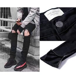FEAR OF GOD Джинсы Hole Hens Hop Hip Hop Мужские брюки-штаны с короткими молниями Джинсы Джастина Бибера Джинсы среднего размера с потертостями от