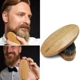 Natural javali cabelo barba escova barba madeira rodada punho estereótipo de barba de homens de