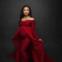 Robes de cape en Ligne-Cape Robe Femmes Enceintes Vadrouille Longue Robe De Maternité Vêtements De Maternité Femme Enceinte Photographie Robe Bateau Cou 4