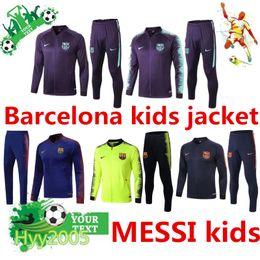 Barcelona trajes de entrenamiento para niños chaqueta 2019 FCB messi ropa deportiva para niños DEMBELE SUAREZ chicos completos chaquetas zip Messi niños chándales desde fabricantes