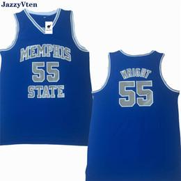 NCAA штат Мемфис Тигры Пенни #25 Hardaway трикотажные изделия сшитые #55 Лоренцен Райт колледж баскетбол 1 черный синий полосатый Белый S-2XL от