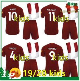 Jerseys de fútbol conjuntos online-Liverpool kids 2019 2020 kit de fútbol salah mane FIRMINO VIRGIL camiseta de fútbol para niños soccer kit 19 20 SHAQIRI Camisetas de fútbol Sets De Futbol