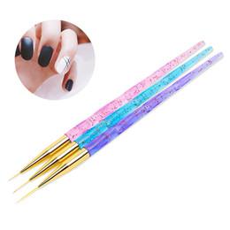 3 Teile / satz Rosa Blau Grün Acryl Nail art Liner Linien Gitter Streifen Pinsel 3D Tipps Design Blume Zeichnung Stift Maniküre Werkzeug von Fabrikanten