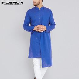 terno dos indianos dos homens Desconto INCERUN Homens Camisa Longa de Algodão de Manga Longa Slim Fit Camisa Dos Homens Camisas Irregulares Sólidos Do Vintage Paquistão Tops Terno de Kurta Indiano