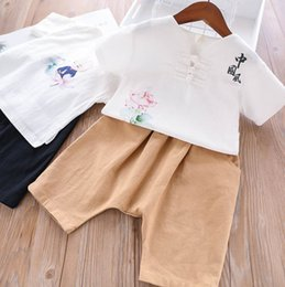 1d680c303ae4 Chinese style kids princess outfits Girls lotus characters printed short  sleeve T-shirt+double pocket elastic harlan shorts 2pcs sets F6823 discount  chinese ...