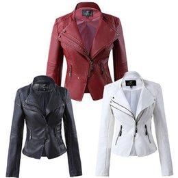 Giacca a doppio colletto bianco online-2019 New Fashion Double Collar Female Plus Size Giacca corta in pelle Donna Bianco Nero Rosso 4XL