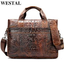 крокодил из натуральной кожи сумки мужчины Скидка WESTAL сумка для мужского портфеля из натуральной кожи офисная сумка-портфель мужская крокодиловая модель переносная сумка для сумки для документов 5555
