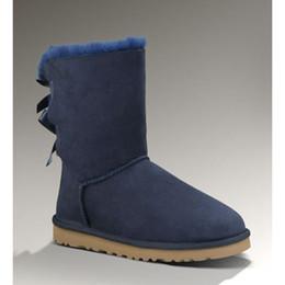Botas de neve roxas para mulheres on-line-Novos sapatos de inverno ug botas de neve mulheres designer de moda clássico Botão Bow 3280 senhoras austrália ankle boots castanha marinha azul roxo