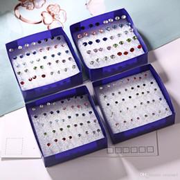 Argentina 20 pares / set Colorido Aretes de Cristal Conjunto Para Las Mujeres Joyería Rhinestones Piercing Pendientes kit Pack lotes Bijouteria brincos Suministro