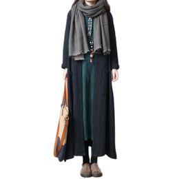 2019 весна новый женский ветровка корейский большой размер свободные дамы верхняя одежда осень длинный абзац над коленом льняное пальто Lj395 от