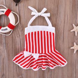 Детский бикини красный онлайн-Купальники Baby Girls Red белая полоса с принтом 2019 летняя детская Купальник бикини детский