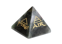 Elementi in pietra online-Natural Chakra Africa Pietra del sangue intagliata Crystal Healing Pyramid Incisa Reiki 4 Elemental of Earth Acqua Air Fire with a Free Pouch