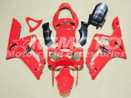 Carena per kawasaki red ninja zx6r online-Kit carenatura moto ABS completo nuovo caldo stampo ad iniezione per 2003 2004 Kawasaki Ninja 636 ZX6R carenatura moto corpo personalizzato rosso