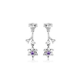 Argentina Forget Me Nots Stud Earrings 100% auténtica joyería de plata esterlina 925 con zirconia cúbica púrpura y transparente Envío gratuito Suministro