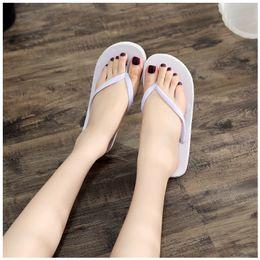 Summer Fashion Pure Plain White Beach Wedding Flip Flops Slippers Women Ladies Girls Love White Shoes Comfortable to Wear The Wholesale