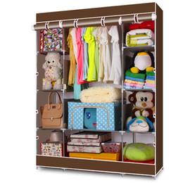 amerikanisches möbel schlafzimmer Rabatt Tragbarer Kleiderschrank Kleiderschrank Home Rack Storage Organizer mit Stahlregalen 2 Farbe US