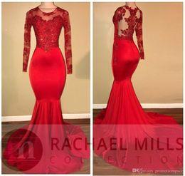 c6e200b6117b 2019 vestiti da promenade in raso rosso Amandabridal Red maniche lunghe  sirena maniche a sirena Prom