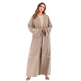 1a31a2117669 Factory Price Muslim Women Striped Open Abaya Dress S-2XL Plus Size Islamic  Women Patchwork Dubai Abaya discount muslim women abayas