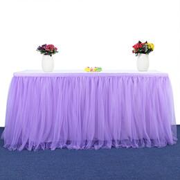 Decoraciones de la ducha de la boda del bebé azul online-183 x 77 cm Banquete de boda Tutu Tul falda de mesa vajilla de tela fiesta de la ducha del bebé decoración del hogar mesa bordeando fiesta de cumpleaños