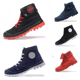 8b06dba723 Palladium Men Women High-top Army Military Ankle Boots Mens Lady Fashion  Anti-Slip Canvas Sneakers Desert Black Brown Army green Casual Shoe