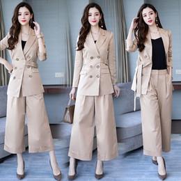 2642891b7ba New women s suit women s long double-breasted suit two-piece suit (jacket +  pants) women s fashion quality business office dress