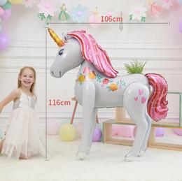 Globos 3d online-3D Unicornio Globos Grandes 116 * 106 cm Dibujos Animados Caminar Animal Foil Globos Decoraciones de Fiesta Suministros Favores de Fiesta OOA6873