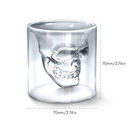2020 whisky de cabeça de cristal Copo de vinho de 75 ml de Duas Camadas de Cristal Caneca Cabeça Do Crânio Uísque Beber Copo De Vidro Casa / Festa de Consumo de Bebidas Acessórios Dropshipping HK0222 desconto whisky de cabeça de cristal