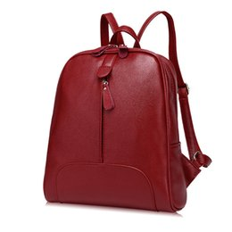 e55266763 red leather backpack purse Promo Codes - Free shipping New women genuine leather  backpack purse fashion