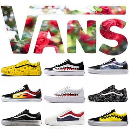 Canada Originals Vans Old Skool Hommes Femmes Casual Chaussures Rock Flame Yacht Club Sharktooth Peanuts Planche À Roulettes Skateboard Hommes Toile Sports Chaussures De Course Sneaker cheap flame sneakers Offre
