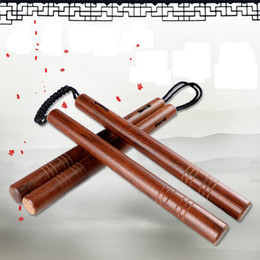 selfs defense stick Promo Codes - Wholesale- Rosewood Stainless Steel Nunchakus Self-Defense Actual Combat Nunchakus Combo Silvery Embossed Laser Lettering Nunchucks Stick