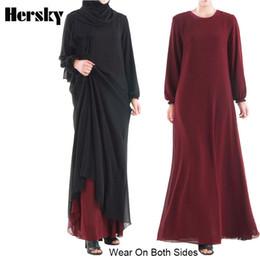 2019 турецкая одежда Wear On Both Sides Dubai Ramadan Abaya Dress Double-Layer Chiffon Muslim Women Dresses Islamic Turkish Robe Musulmane Clothing скидка турецкая одежда