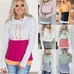 Plain-pullover online-Frauen Patchwork Hoodies Tops Langarm Kordelzug Mit Kapuze Sweatshirt outwear mantel Herbst Winter plain hoodie LJJA3075