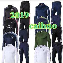 2019 kit de venta al por mayor 2018 Psg Chándal Real Madrid FR Sets de primera calidad 2019 marseille soccer Chándal Sets MBAPPE VERRATT POGBA Traje de entrenamiento de fútbol