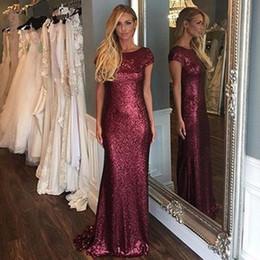 Robes de bal ajustées mancherons en Ligne-2019 nouvelle arrivée équipée Bourgogne paillettes à mancherons robes de bal sirène formelle robes de soirée sur mesure