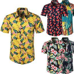 2019 blusas frescas impressões Novo Verão Fresco Homens Havaiano Floral Impresso Camisa de Manga Curta Acampamento Tops Blusa Camisas Masculino Beachwear Plus Size XXL blusas frescas impressões barato